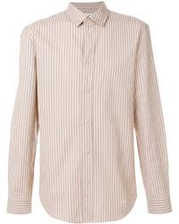 Camisa de vestir de rayas verticales marrón claro