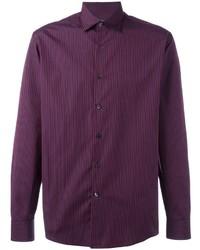 Camisa de vestir de rayas verticales morado oscuro de Salvatore Ferragamo