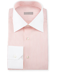 Camisa de vestir de rayas verticales naranja