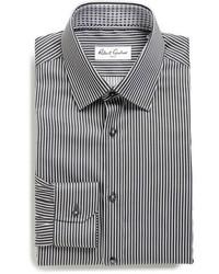 Camisa de vestir de rayas verticales negra