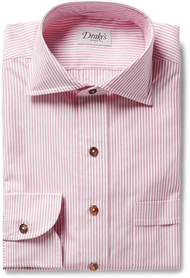 Camisa de vestir de rayas verticales rosada de Drakes