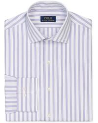 Camisa de vestir de rayas verticales violeta claro
