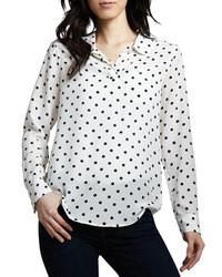 Camisa de vestir de seda a lunares en blanco y negro