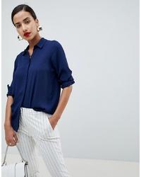 Camisa de vestir de seda azul marino de ASOS DESIGN