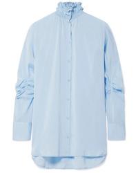 Camisa de vestir de seda celeste