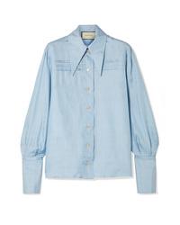 Camisa de vestir de seda celeste de Gucci