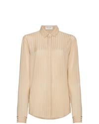 Camisa de vestir de seda de rayas verticales marrón claro de Saint Laurent