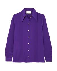 Camisa de vestir de seda en violeta de Gucci