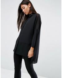 Camisa de vestir de seda negra de ASOS DESIGN