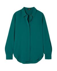 Camisa de vestir de seda verde oscuro