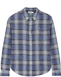 Camisa de vestir de tartán azul