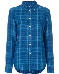 Camisa de Vestir de Tartán Azul de Polo Ralph Lauren