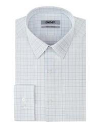 Camisa de vestir de tartán blanca
