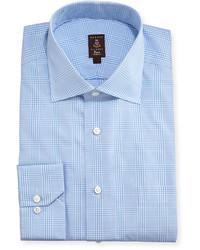 Camisa de vestir de tartán celeste