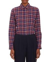 Camisa de vestir de tartán en azul marino y rojo
