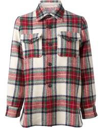 Camisa de vestir de tartán en blanco y rojo
