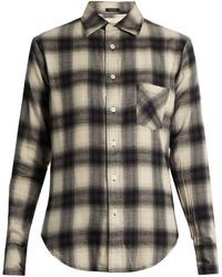 Camisa de vestir de tartán en gris oscuro