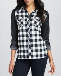Camisa de vestir de tartán en negro y blanco