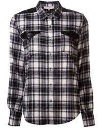 Camisa de vestir de tartán en negro y blanco de IRO