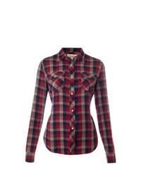 Camisa de vestir de tartán en rojo y negro