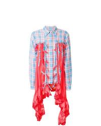 Camisa de vestir de tartán en turquesa de Marco De Vincenzo
