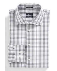 Camisa de vestir de tartán gris