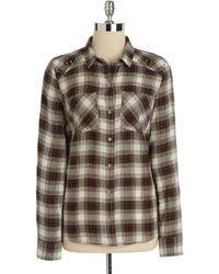 Camisa de vestir de tartán marrón