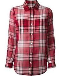 Camisa de vestir de tartán roja de MICHAEL Michael Kors