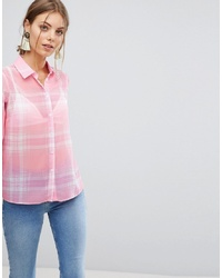 Camisa de vestir de tartán rosada de ASOS DESIGN