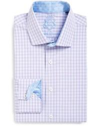 Camisa de Vestir de Tartán Violeta Claro