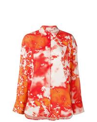 Camisa de vestir efecto teñido anudado naranja