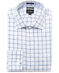 Camisa de Vestir en Blanco y Azul