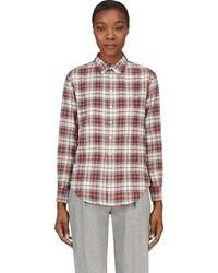 Camisa de vestir en blanco y rojo y azul marino original 3191829