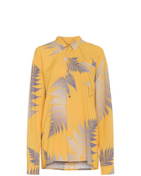Camisa de vestir estampada amarilla de Double Rainbouu