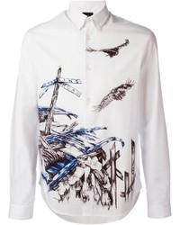 Camisa de Vestir Estampada Blanca de McQ by Alexander McQueen