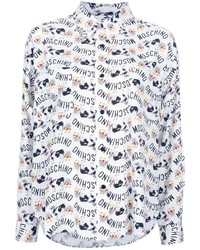 Camisa de vestir estampada blanca de Moschino