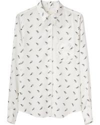Camisa de vestir estampada en blanco y negro