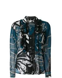 Camisa de vestir estampada negra de Comme des Garcons
