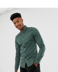 Camisa de vestir estampada verde oscuro