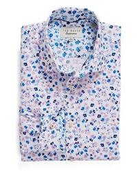 Camisa de vestir estampada violeta claro