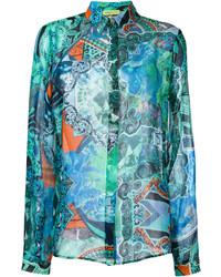Camisa en turquesa de Versace