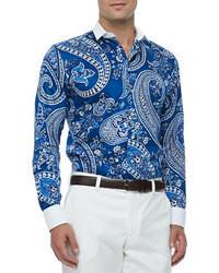 f6edcb9988 Cómo combinar una camisa estampada azul (45 looks de moda)