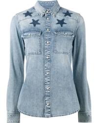Camisa estampada celeste de Givenchy