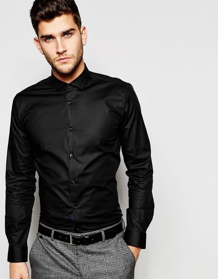 381fa12ec78e3 ... Camisa negra de Hugo Boss ...