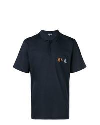 Camisa polo bordada azul marino de Lanvin
