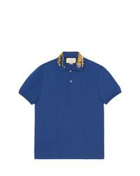 Camisa Polo Bordada Azul de Gucci