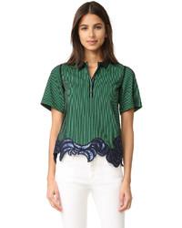 Camisa polo bordada verde de 3.1 Phillip Lim