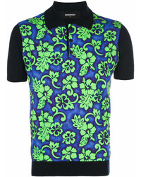 Camisa polo con print de flores verde de DSQUARED2