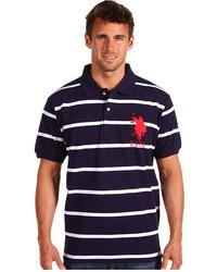 Camisa polo de rayas horizontales en azul marino y blanco