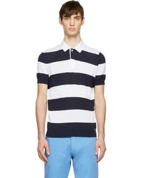 Camisa polo de rayas horizontales en azul marino y blanco de DSQUARED2